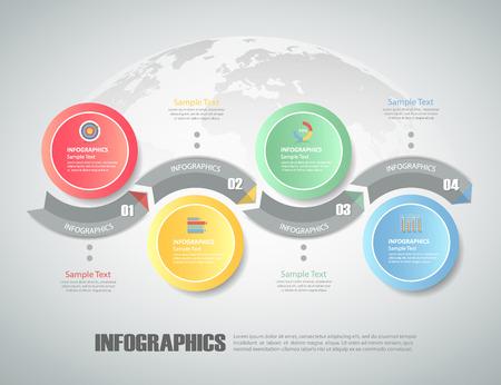 Diseño del círculo infografía 4 pasos. se puede utilizar para el diseño de flujo de trabajo, diagrama, opciones de números, el concepto del bussiness
