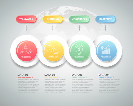 duration: Design infographic template 4 steps for business concept.
