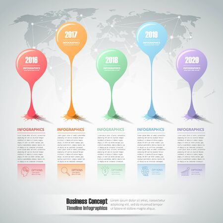 timeframe: Design infographic template 5 steps for business concept.