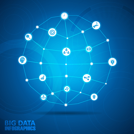 3d icon: Design global big data infographic template. Illustration