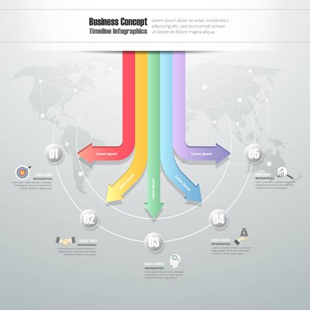 chronological: Business concept infographic template, Can be used for workflow layout, banner, diagram, web design, timeline