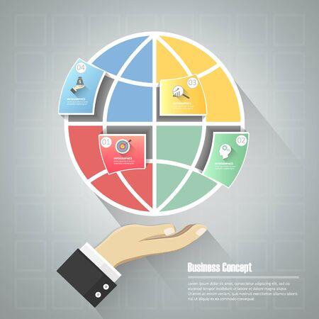 global design: Design puzzle global, Business concept infographic template, Illustration