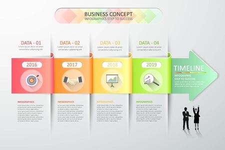 Design abstract 3d arrow infographic template 4 steps for business concept Иллюстрация