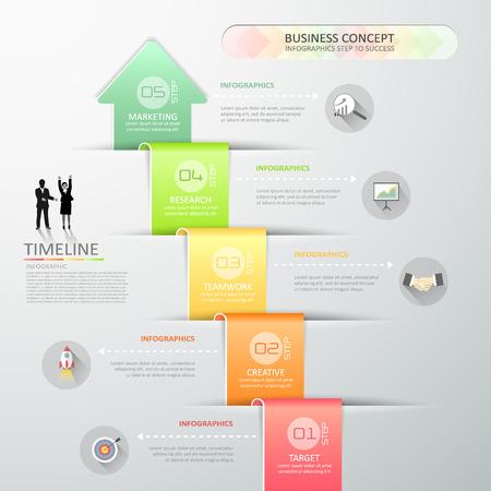 디자인 추상 3d 화살표 infographic 템플릿 비즈니스 개념에 대 한 5 단계 일러스트