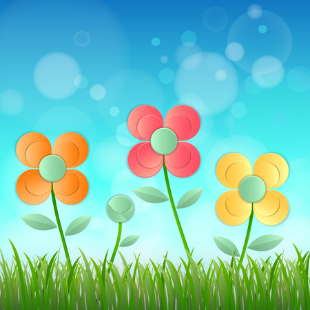 lea: Field of flower fresh spring on blue background with bokeh, Vector illustration Illustration