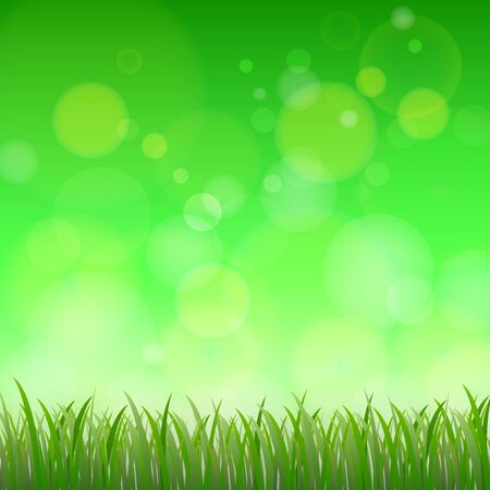 lea: Fresh spring green background with bokeh, Vector illustration