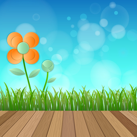 lea: Field of flower fresh spring on blue background with plank wood floor, Vector illustration