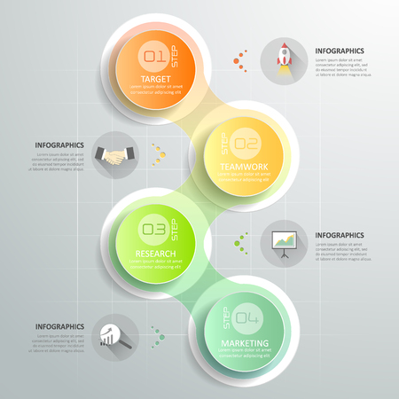 duration: Design circle infographic template 4 steps for business concept.