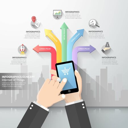 hand holding smart phone: Hand holding smart phone with Internet of things Illustration