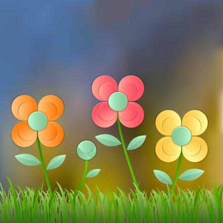 lea: Field of flower fresh spring on blur background, Vector illustration
