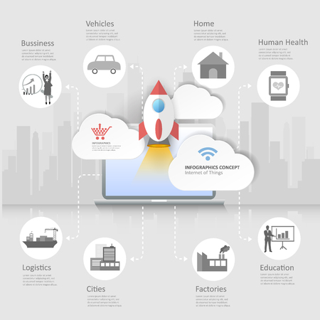 cloud network: Design Internet of things concept with icons set