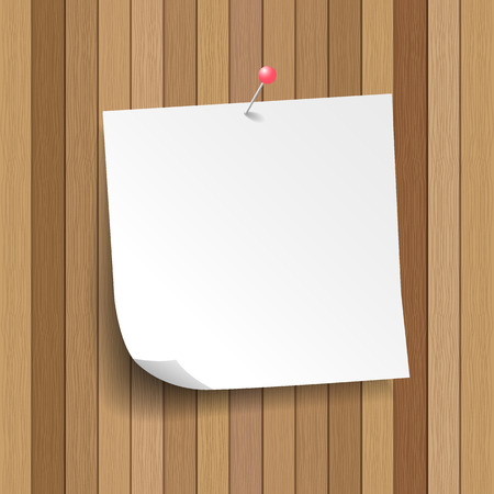 paper pin: white note paper with pin on plank wood