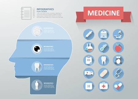 heart monitor: Design Medical infographics with icon set Illustration
