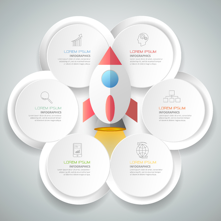online business: Abstract 3d infographic template 6 steps, can be used for workflow layout, diagram, number options, graphic or website layout. Illustration