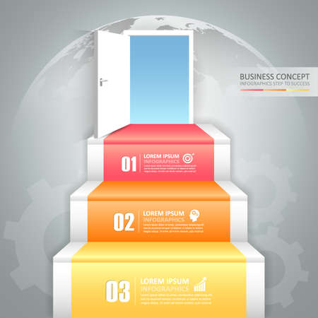 Design business staircase doorway concept infographics. Vector illustration