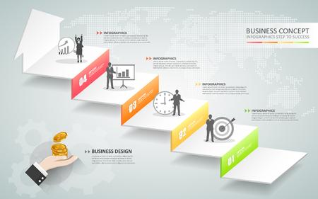Diseño escalera de negocio infografía conceptuales. Puede ser utilizado para el diseño de flujo de trabajo, bandera, diagrama, diseño web, plantilla infografía