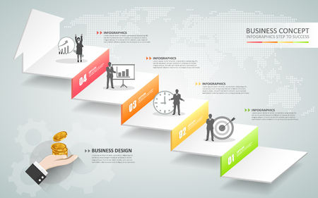 Design business staircase conceptual infographics. Can be used for workflow layout, banner, diagram, web design, infographic template Illustration