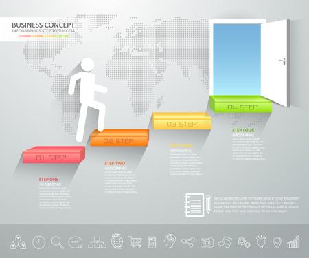 doorway: Design business staircase doorway concept infographics. Vector illustration