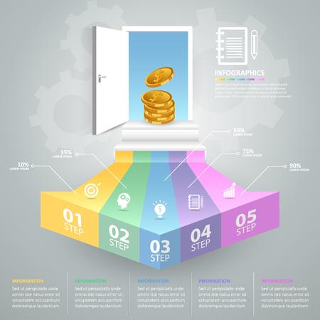 Design business doorway concept infographics. Vector illustration