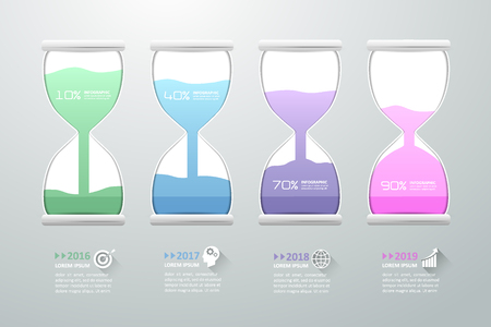 Abstract 3D hourglass illustration Infographic. Vector illustration can be used for workflow layout, diagram, number options, web design.