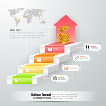 chronological: Design business staircase conceptual infographics. Can be used for workflow layout, banner, diagram, web design, infographic template Illustration