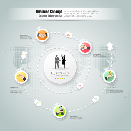 mindmap: Design business circle concept infographic, can be used for workflow layout, diagram, number options, graphic or website layout.