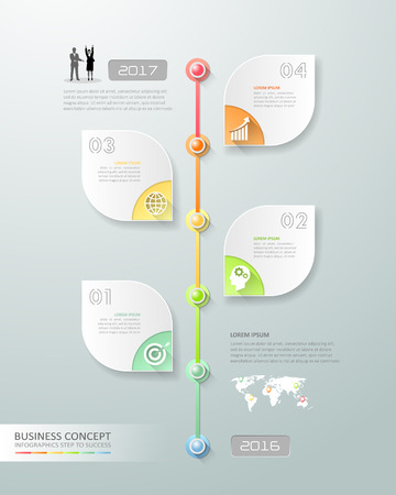 chronological: Design business timeline infographic template 5 steps, can be used for workflow layout, diagram, number options, graphic or website layout. Illustration