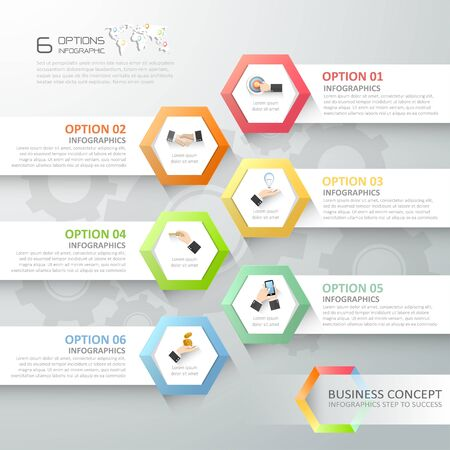 conection: Abstract 3d infographic template 6 steps, can be used for workflow layout, diagram, number options, graphic or website layout. Illustration
