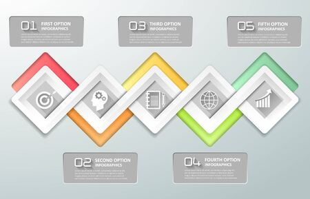 chronological: Design business concept infographics. Infographic template 5 steps, business timeline infographic, vector infographic. Can be used for workflow layout, diagram, number option.