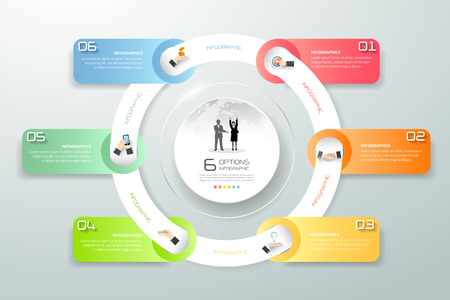 Design circle infographic 6 steps, Business timeline infographic, vector infographic, Infographics stock can be used for workflow layout, diagram, number option.