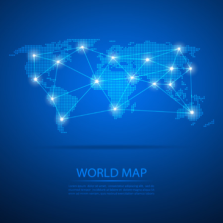World map with dot nodes. Vector design dots map. Dots map background and line network.