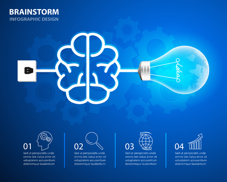 chronological: Abstract lightbulb brainstorm Infographic, Business concept infographic 4 options, Can be used for workflow layout, diagram, number options, web design.