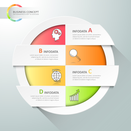 chronological: Design circle infographic 4 options,  Business concept infographic can be used for workflow layout, diagram, number options, milestones project. Illustration
