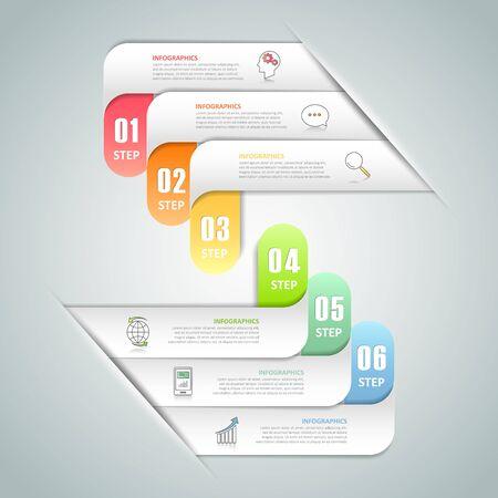 Conception infographique 6 options modèle, Business concept infographique peut être utilisé pour la mise en page flux de travail, diagramme, les options numériques, des jalons projet. Vecteurs