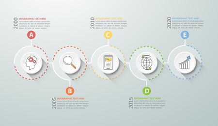 Chronologie infographiques 5 options, Business concept modèle infographique peuvent être utilisés pour la mise en page flux de travail, diagramme, les options de numéro, le calendrier ou les étapes du projet. Vecteurs
