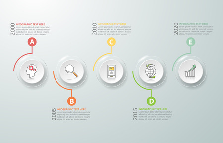 botton: Timeline infographic 5 options,  Business concept infographic template can be used for workflow layout, diagram, number options,