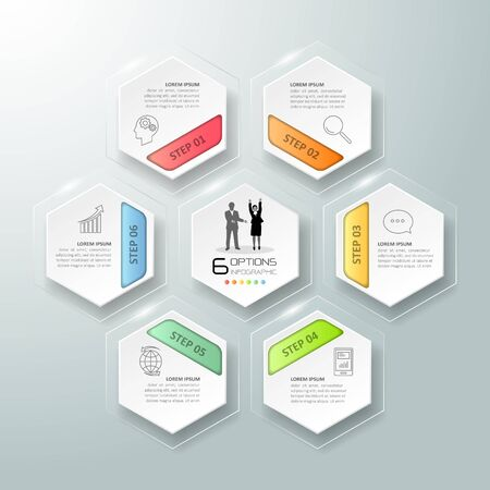 chronological: Abstract 3d infographic 6 options,  Business concept infographic template can be used for workflow layout, diagram, number options,