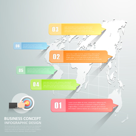 World map infographic 6 options,  Business concept infographic template can be used for workflow layout, diagram, number options,
