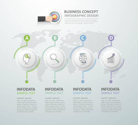 Abstract 3d infographiques 4 options, Business concept modèle infographique peuvent être utilisés pour la mise en page flux de travail, diagramme, les options de numéro, le calendrier ou les étapes du projet.