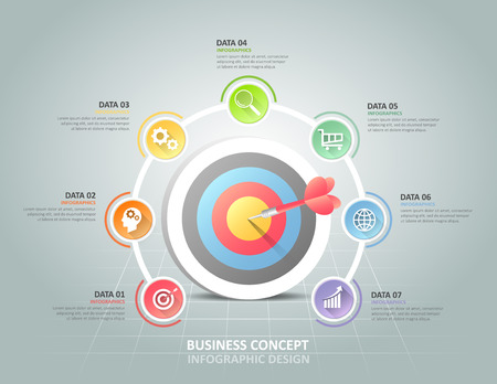 Circle infographic 7 options,  Business concept infographic template can be used for workflow layout, diagram, number options, timeline or milestones project.