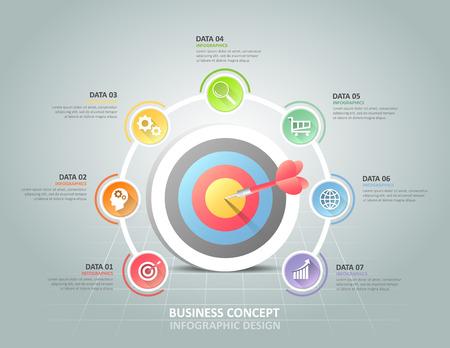 Cercle infographiques 7 options, Business concept modèle infographique peuvent être utilisés pour la mise en page flux de travail, diagramme, les options de numéro, le calendrier ou les étapes du projet. Vecteurs