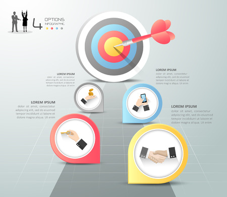 Steps to target infographic 5 options, Business concept infographic template can be used for workflow layout, diagram, number options, timeline or milestones project. Illustration
