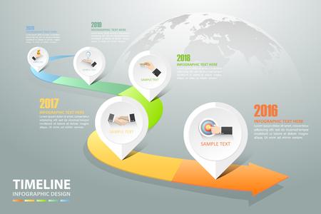 Línea de tiempo de infografía 5 opciones, Concepto de negocio plantilla de infografía se pueden utilizar para el diseño de flujo de trabajo, diagrama, opciones de números, Ilustración de vector