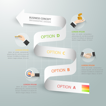 chronological: Abstract 3d spiral infographic template, Business concept 4 options can be used for workflow layout, diagram, number options,