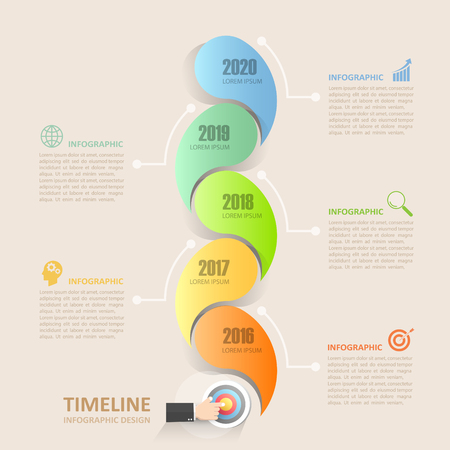 chronological: Timeline infographic 5 options,  Business concept infographic template can be used for workflow layout, diagram, number options, timeline or milestones project.