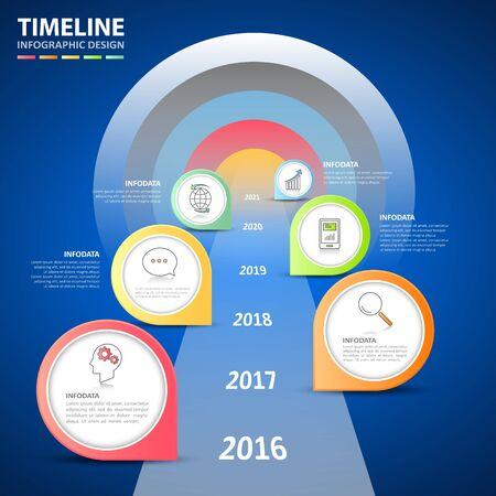 Stappen om infographic 6-opties te targeten, Business-concept infographic sjabloon kan worden gebruikt voor workflow-opmaak, diagram, nummeropties, tijdlijn of mijlpalen project.