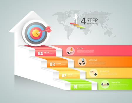 Business Design escalier infographies conceptuels. Peut être utilisé pour la mise en page workflow, bannière, diagramme, web design, modèle infographique