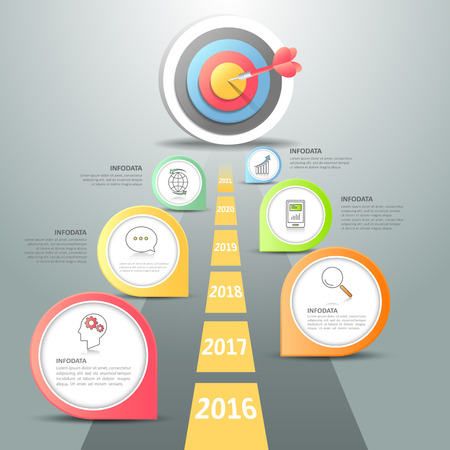 Étapes pour cibler infographique 6 options, Business concept modèle infographique peut être utilisé pour la mise en page flux de travail, diagramme, les options de numéro, le calendrier ou les étapes du projet. Vecteurs