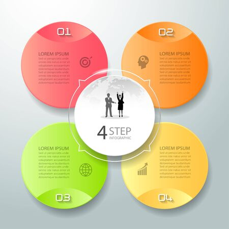 Abstract 3d infographic 4 options,  Business concept infographic template can be used for workflow layout, diagram, number options,