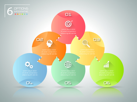 Abstract 3d infographic 6 options,  Business concept infographic template can be used for workflow layout, diagram, number options,